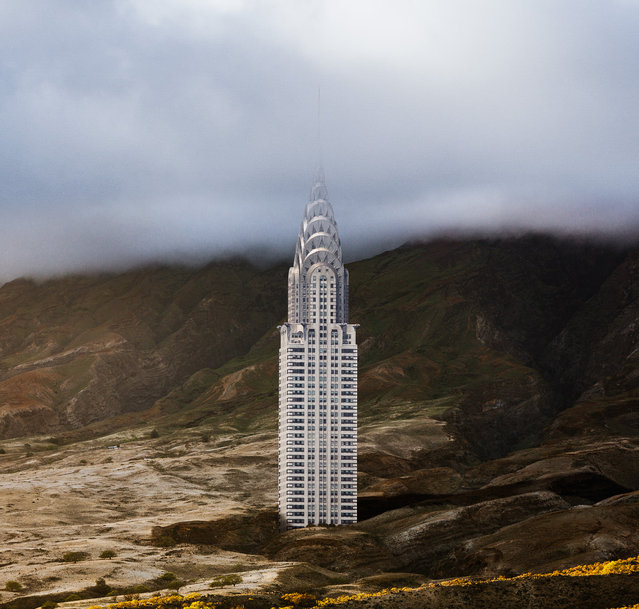"Chrysler Building. ""Concrete behemoths and steel-and-glass towers rise from sand dunes and rocky cliffs, inviting viewers to see them as if for the first time"", the project states. (Photo by Anton Repponen/The Guardian)"