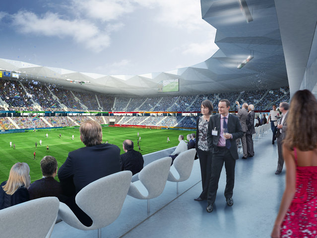 In this handout artists impression provided by the Russia 2018 Organising Commitee, the Volgograd Stadium is shown as proposed and presented as part of the Russia 2018 World Cup bid, on September 29, 2011 in Russia. (Illustration by Russia 2018 via Getty Images)