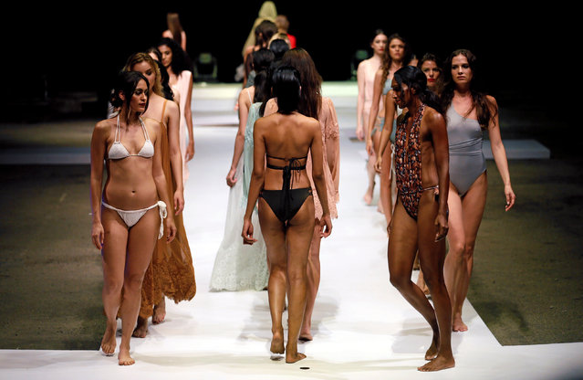 """Models present creations by Hot-As-Hell during the """"Swim Fashion Week"""" fashion show in Colombo, Sri Lanka June 30, 2017. (Photo by Dinuka Liyanawatte/Reuters)"""