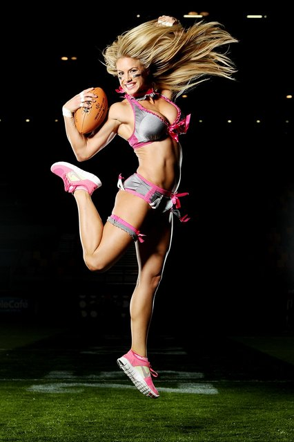 Liz Gorman of the Eastern conference poses during the Lingerie Football League media call at Brisbane Entertainment  centre on May 30, 2012 in Brisbane, Australia