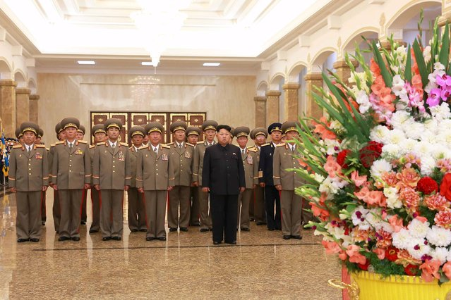 North Korean leader Kim Jong Un visits the Kumsusan Palace of the Sun to mark the occasion of the 70th anniversary of Korea's liberation on Saturday, in this photo released by North Korea's Korean Central News Agency (KCNA) in Pyongyang August 15, 2015. (Photo by Reuters/KCNA)