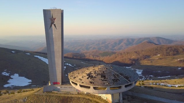 "Perched like a UFO, the Buzludzha Monument, near the town of Kazanlak east of the Bulgarian capital Sofia, Tuesday, April, 04, 2017, was built by the Bulgarian communist regime. It commemorates events in 1891 that saw socialists, led by Dimitar Blagoev, assemble secretly to form an organised socialist movement in the form of the Bulgarian Social Democratic Party, a forerunner of the Bulgarian Communist Party. The Monument was opened in 1981. However, the Bulgarian government doesn't have the resources needed to carry out necessary repair and conservation works and the mounoment has fallen into disrepair. A local resident said: ""This monument is unique in all the world and, if it is restored in future, can be a huge attraction for tourists and bring much money for the region"". (Photo by Petar Petrov/Impact Press Group/NurPhoto via Getty Images)"