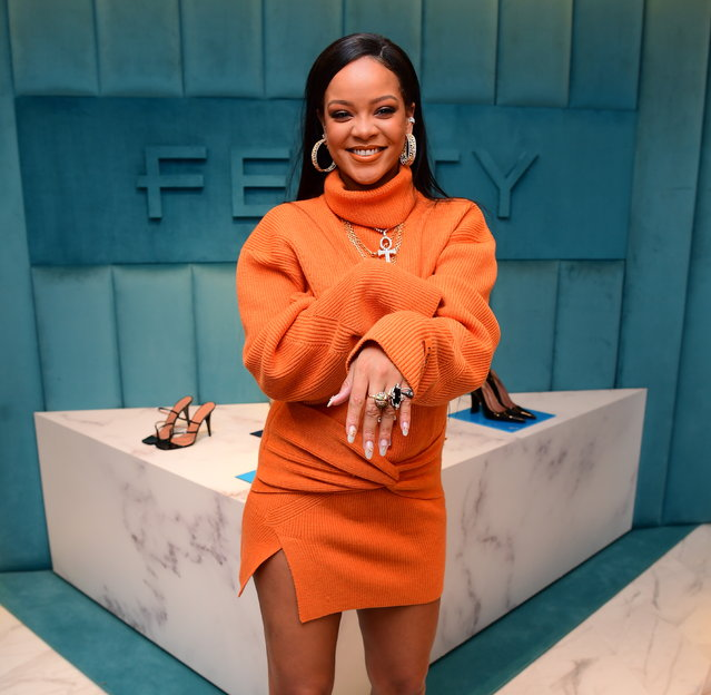 Rihanna has a blast as she visits her Fenty Pop Up Shop at Bergdorf Goodman in NYC on February 8, 2020. (Photo by DIGGZY/Splash News and Pictures)