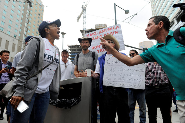 Trump supporter Karen Kennedy (L) argues with anti-Trump protestor Andrew Car (R) outside where U.S. Republican presidential candidate Donald Trump was speaking in downtown Denver, U.S. July 1, 2016. (Photo by Chris Schneider/Reuters)