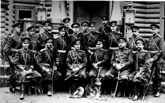Tsar Nicholas II (1868–1918), emperor of Russia, with a group of Russian army officers, circa 1916. (Photo by Henry Guttmann)