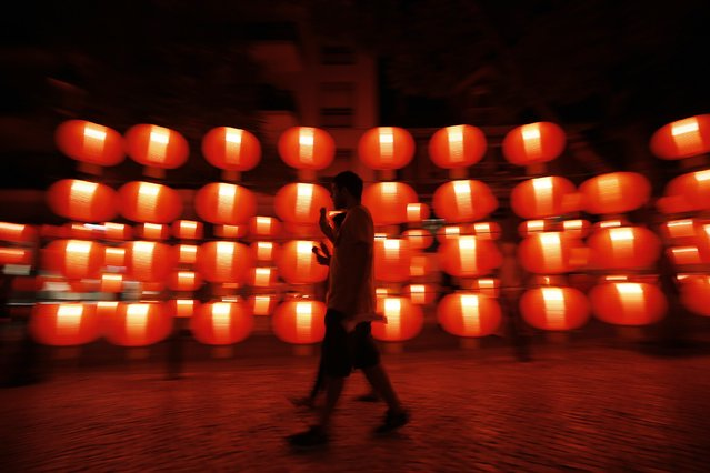 An installation created by Macao Tourism is displayed during the Lumina Light Festival in Cascais September 14, 2014. (Photo by Rafael Marchante/Reuters)