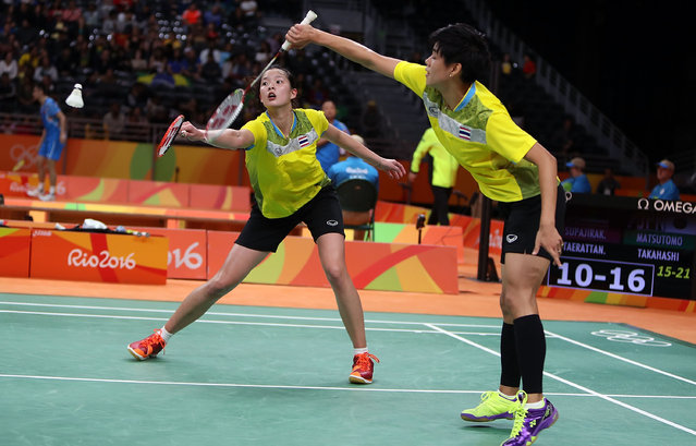 Sapsiree Taerattanachai and Puttita Supajirakul of Thailand competes against  Misaki Matsutomo and Ayaka Takahashi of Japan in the badminton Women's Double on Day 7 of the 2016 Rio Olympics at Riocentro – Pavilion 4 on August 12, 2016 in Rio de Janeiro, Brazil.   (Photo by Amin M. Jamali/Getty Images)