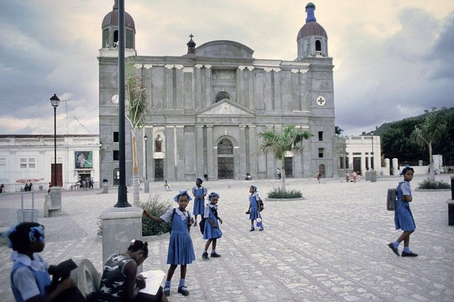 Cap-Haitien, Haiti. Pupils on the cathedral square in Cap-Haitien in October 2003. (Photo by Jean-Claude Coutausse)
