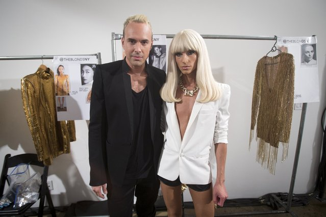Designers Phillipe Blond (R) and David Blond pose for a portrait before the The Blonds Spring/Summer 2016 collection during New York Fashion Week in New York September 16, 2015. (Photo by Carlo Allegri/Reuters)