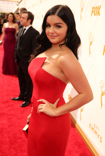 Ariel Winter arrives at the 67th Primetime Emmy Awards on Sunday, September 20, 2015, at the Microsoft Theater in Los Angeles. (Photo by Eric Charbonneau/Invision for the Television Academy/AP Images)