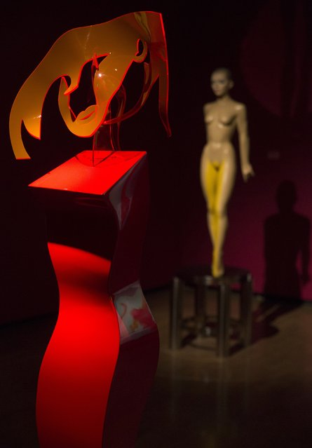 """The 2014 work """"Red Queen"""" is displayed amongst the artist's other works at the """"Allen Jones RA"""" at the Royal Academy of Arts in London November 11, 2014. (Photo by Neil Hall/Reuters)"""