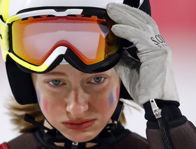 Lucile Morat of France reacts during the Women's Normal Hill Ski Jumping Individual Final February 12, 2018 at Alpensia Ski Jumping Centre in Pyeongchang-gun, South Korea. (Photo by Kai Pfaffenbach/Reuters)