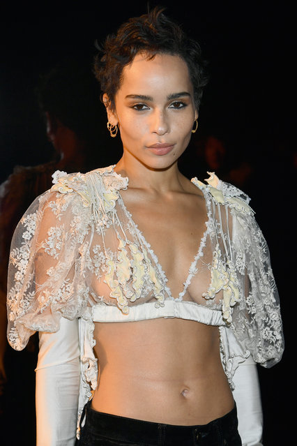 Zoe Kravitz attends the Saint Laurent show as part of the Paris Fashion Week Womenswear Fall/Winter 2018/2019 on February 27, 2018 in Paris, France. (Photo by Dominique Charriau/WireImage)