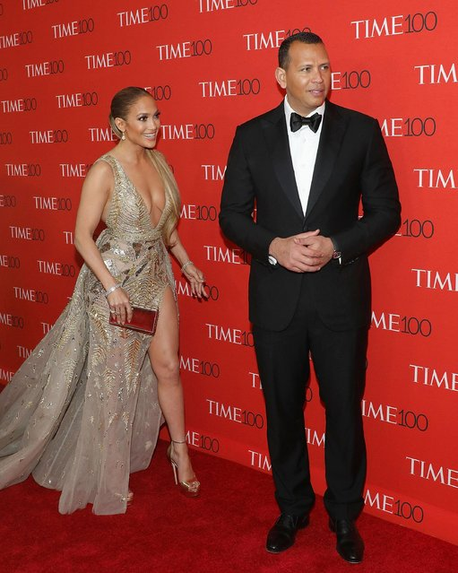 Jennifer Lopez and Alex Rodriguez attend the 2018 Time 100 Gala at Frederick P. Rose Hall, Jazz at Lincoln Center on April 24, 2018 in New York City. (Photo by Taylor Hill/FilmMagic)