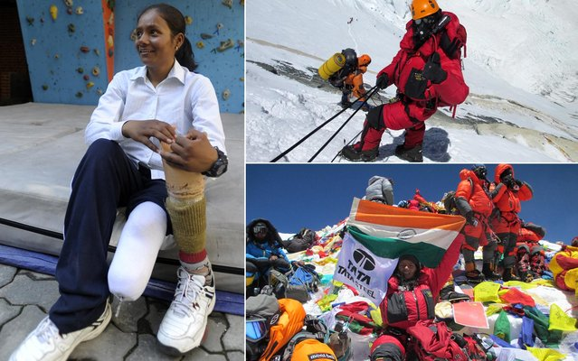 Arunima Sinha, a former national level volleyball player, who had lost her right leg after thrown off a moving train by some hoodlums, created history on Tuesday by becoming the first Indian amputee to conquer Mount Everest. The 25-year-old Arunima reached the summit of the highest peak in the world at 10.55 am, as a member of the Eco Everest Expedition from the Tata Group, an official of the Tourism Ministry of Nepal said. (Photo by Prakash Mathema/Arunima Sinha/AFP Photo)