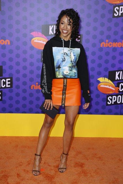 Actor Liza Koshy attends Nickelodeon Kids' Choice Sports Awards 2018 at Barker Hangar on July 19, 2018 in Santa Monica, California. (Photo by Danny Moloshok/Reuters)