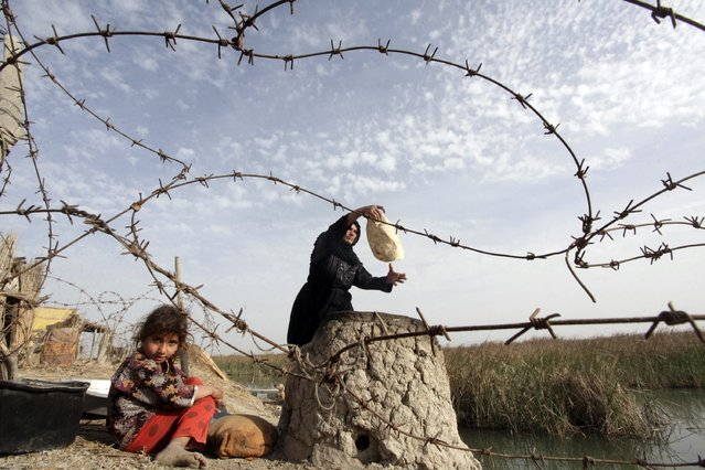 A woman bakes traditional bread as a girl sits nearby in the Chebayesh marsh in Nassiriya, southeast of Baghdad, February 11, 2015. Picture taken February 11, 2015. (Photo by Alaa Al-Marjani/Reuters)