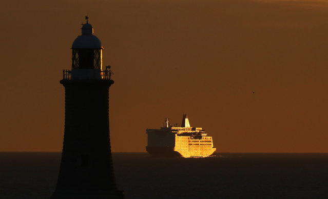 The Princess Seaways arrives at the Port of Tyne, England at dawn November 30, 2016. (Photo by Owen Humphreys/PA Wire)