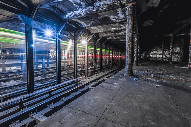 At the dead of night, the photographer – known to his Instagram followers as Dark Cyanide – heads out to look for hidden gems, like abandoned stations, provisions and tunnels. His intriguing images feature vibrant streaks, graffiti, and tight framing – and by adding individuals to some to some of shots, he is also able to depict the incredible scale of some of the tunnels. The photographer, 19, admitted what he and his friends do is highly dangerous, illegal, and he does not recommend others attempt to explore such tunnels. Here: Unnamed subway track in New York City. (Photo by Dark Cyanide/Caters News)