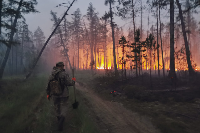 A volunteer heads to douse a forest fire in the republic of Sakha also known as Yakutia, Russia Far East, Saturday, July 17, 2021. Russia has been plagued by widespread forest fires, blamed on unusually high temperatures and the neglect of fire safety rules, with the Sakha-Yakutia region in northeastern Siberia being the worst affected. (Photo by Ivan Nikiforov/AP Photo)