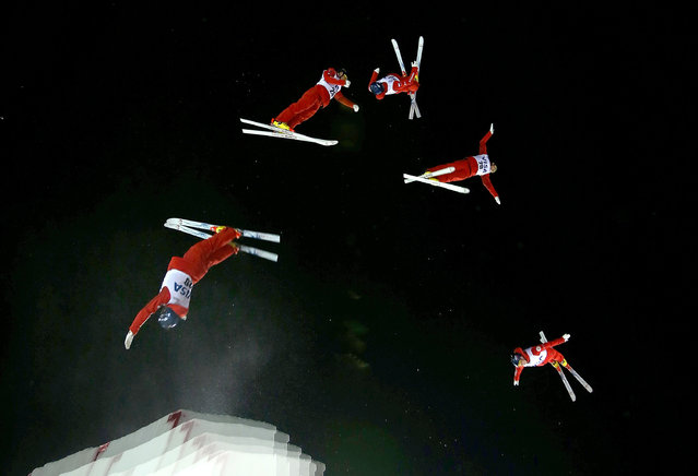 Pavel Krotov of Russia competes during the finals for the Mens Aerials at the FIS Freestyle Ski World Cup Aerial Competition at Deer Valley on January 10, 2014 in Park City, Utah. (Photo by Mike Ehrmann/Getty Images)