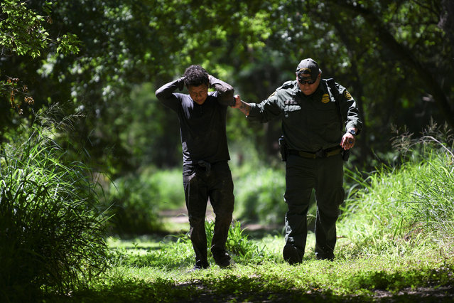 A U.S. Border Patrol agent apprehends an undocumented man from Honduras after he illegally crossed the U.S.-Mexico border in Mission, Texas, U.S., April 9, 2019. (Photo by Loren Elliott/Reuters)
