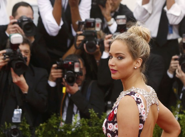 "Actress Jennifer Lawrence arrives at the Metropolitan Museum of Art Costume Institute Gala 2015 celebrating the opening of ""China: Through the Looking Glass"" in Manhattan, New York May 4, 2015. (Photo by Lucas Jackson/Reuters)"