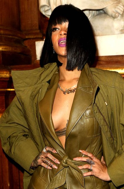 Rihanna is pictured arriving at the Balmain show as part of the Paris Fashion Week Womenswear Fall/Winter 2014-2015 today in Paris, France. (Photo by INFphoto.com)