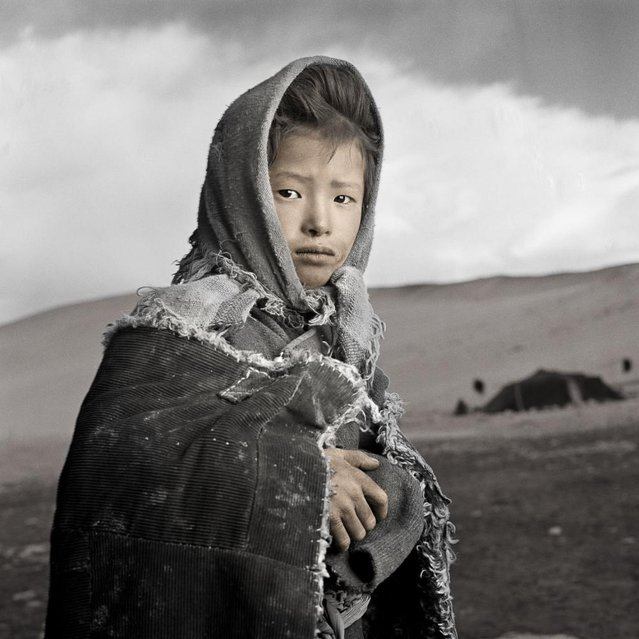 """""""Chamdu very hesitantly asked me if I had taken a photo of the Dalai Lama that she could have. She is the eldest of four children living in a yak hair tent with her family in this very remote and rugged area of the Changtang (Tibetan Plateau). Since there are no trees or bushes at this 16,500 ft altitude the only fuel they have is goat dung to get them through the long and bitter cold winter"""". (Phil Borges)"""