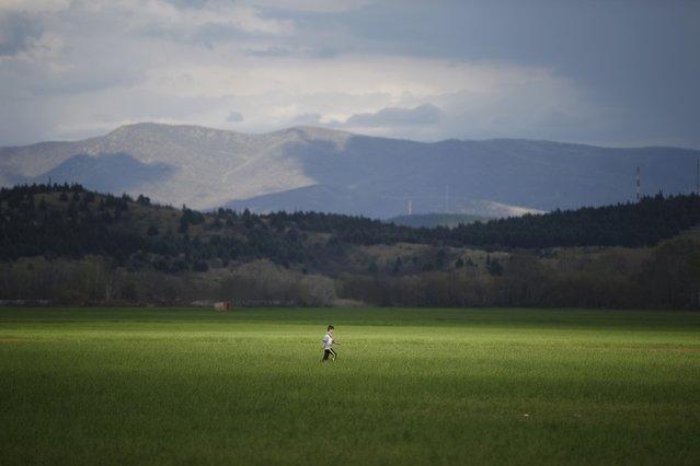 A migrant boy walks through a field near a makeshift camp on the Greek-Macedonian border near the village of Idomeni, Greece  March 11, 2016. (Photo by Stoyan Nenov/Reuters)