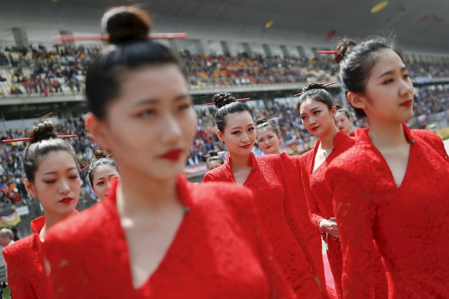 Formula One, Chinese F1 Grand Prix, Shanghai, China on April 17, 2016: Hostesses before the Chinese Grand Prix. (Photo by Aly Song/Reuters)