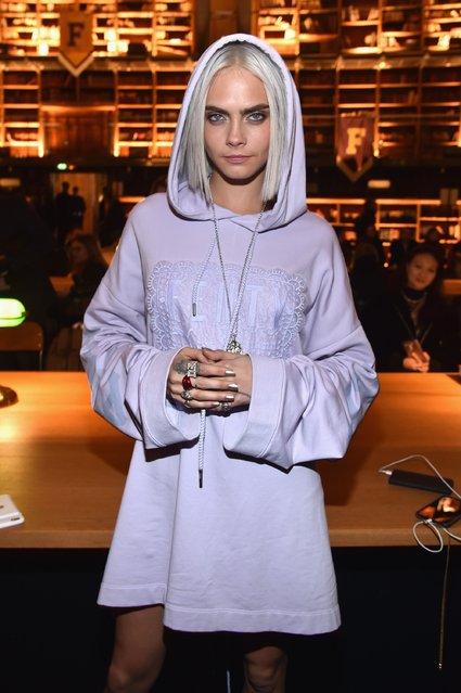 Cara Delevigne attends FENTY PUMA by Rihanna Fall / Winter 2017 Collection at Bibliotheque Nationale de France on March 6, 2017 in Paris, France. (Photo by Pascal Le Segretain/Getty Images for Fenty Puma)