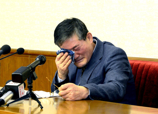 A man who identified himself as Kim Dong Chul, who previously said he was a naturalised American citizen and was arrested in North Korea in October, attends a news conference in Pyongyang, North Korea, in this undated photo released by North Korea's Korean Central News Agency (KCNA) in Pyongyang March 25, 2016. (Photo by Reuters/KCNA)