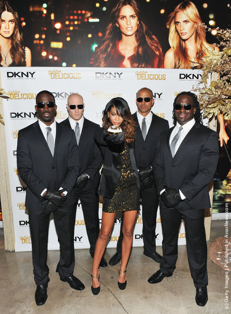 Supermodel Chanel Iman attends DKNY's Golden Delicious million dollar fragrance bottle unveiling at the DKNY Store