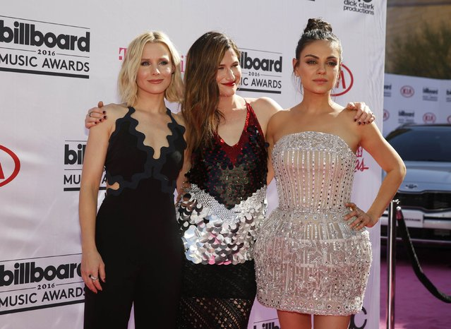 Actresses Kristen Bell (L), Kathryn Hahn and Mila Kunis (R) arrive at the 2016 Billboard Awards in Las Vegas, Nevada, U.S., May 22, 2016. (Photo by Steve Marcus/Reuters)