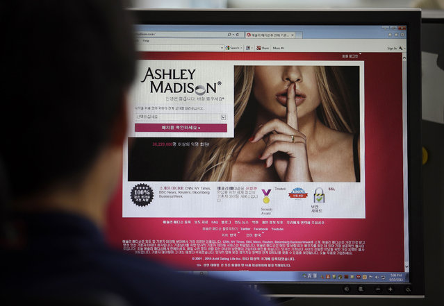 In this June 10, 2015 photo, Ashley Madison's Korean web site is shown on a computer screen in Seoul, South Korea. Avid Life Media Inc., the parent company of Ashley Madison, a matchmaking website for cheating spouses, said it was hacked and that the personal information of some of its users was posted online. The breach was first reported late Sunday, July 19, 2015, by Brian Krebs of Krebs on Security, a website that focuses on cybersecurity. (Photo by Lee Jin-man/AP Photo)