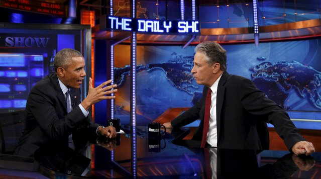 U.S. President Barack Obama makes an appearance on The Daily Show with Jon Stewart in New York July 21, 2015. (Photo by Kevin Lamarque/Reuters)