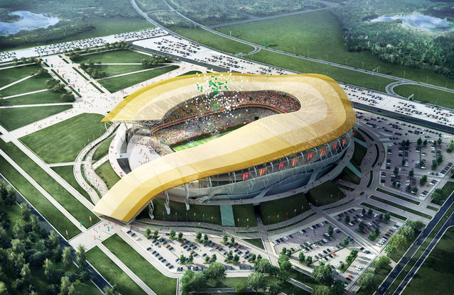 In this handout artists impression provided by the Russia 2018 Organising Commitee, the Rostov on Don Stadium is shown as proposed and presented as part of the Russia 2018 World Cup bid, on September 29, 2011 in Russia. (Illustration by Russia 2018 via Getty Images)