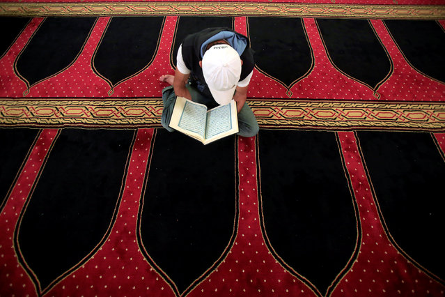 A man reads the Koran on Laylat al-Qadr during the last week of the Muslim fasting month of Ramadan in Al Amin mosque in Beirut, Lebanon, July 1, 2016. (Photo by Jamal Saidi/Reuters)