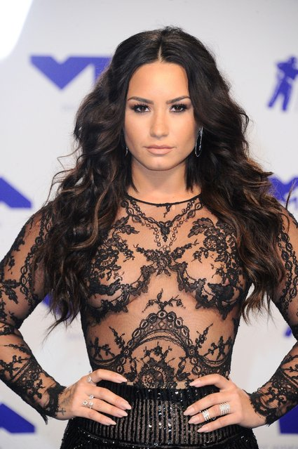 Demi Lovato poses in the press room at the MTV Video Music Awards at The Forum on Sunday, August 27, 2017, in Inglewood, Calif. (Photo by Matt Baron/Rex Features/Shutterstock)