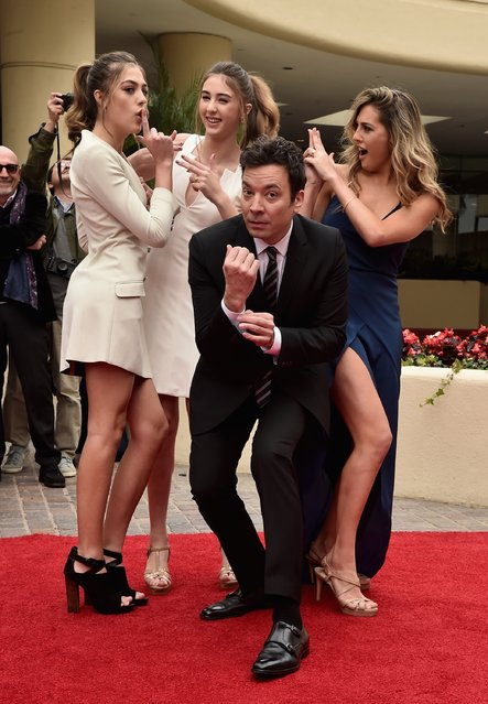 Miss Golden Globe 2017 Sophia Stallone, Sistine Stallone, host Jimmy Fallon and Scarlett Stallone attend the 74th Annual Golden Globes Preview Day at The Beverly Hilton Hotel on January 4, 2017 in Beverly Hills, California. (Photo by Alberto E. Rodriguez/Getty Images)