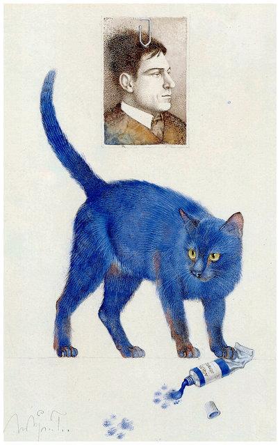 Die Katze Ultramarin (The cat ultramarine). Artwork by Michael Mathias Prechtl