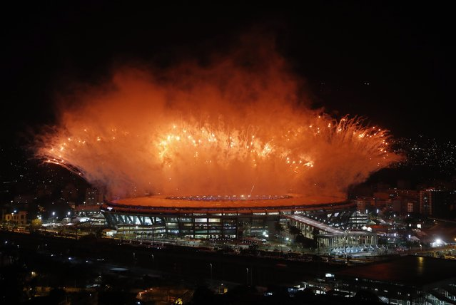 Fireworks go off at the end of the Opening Ceremony of the Rio 2016 Olympic Games at the Maracana Stadium in Rio de Janeiro, Brazil, 05 August 2016. (Photo by Diego Azubel/EPA)