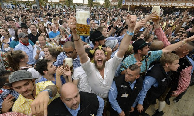 Visitors celebrate with first beer mugs the opening of the traditional Bavarian Oktoberfest festival at the Theresienwiese in Munich, southern Germany, on September 20, 2014. (Photo by Christof Stache/AFP Photo)