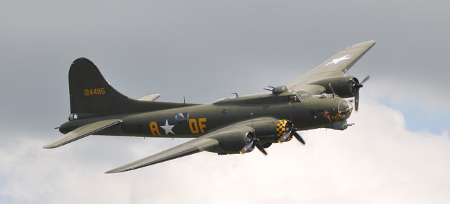 """Boeing B-17G Flying Fortress (299P) G-BEDF / 124485/DF-A """"Sally B"""" """"Memphis Belle"""" – Flying Legends Airshow 2012 Duxford. Sally B is the name of an airworthy 1945-built Boeing B-17G Flying Fortress. It was delivered to the United States Army Air Force (USAAF) on 19 June 1945 as 44-85784; after being converted to both a TB-17G and then an EB-17G it was struck off charge in 1954. In 1975 the Institut Géographique National in France bought the plane for use as a survey aircraft. In 1975 it moved to England to be restored to wartime condition as a memorial to the USAAF B-17 airmen who lost their lives in the European theatre. It is based at the Imperial War Museum Duxford, England. The Sally B was used in the film Memphis Belle as one of 5 flying B-17s needed for various film scenes, and it was used to replicate the real Memphis Belle in one scene. Half of the aircraft is still in the Memphis Belle livery. (Rob Lovesey)"""