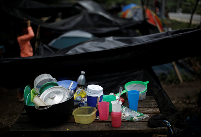 Dishes of African migrants stranded in Costa Rica are seen at camp at the border between Costa Rica and Nicaragua, in Penas Blancas, Costa Rica, September 7, 2016. (Photo by Juan Carlos Ulate/Reuters)