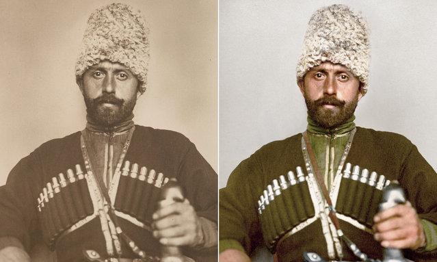 A Cossack man – most likely from the Ussuri Cossack host – characterized by his papakha, the lamb wool hat and the green cherkesska coat accented in yellow. The coat features a number of pouches to house gazyri, traditionally metal powder tubes for early firearms. (Photo by Augustus Francis Sherman/New York Public Library/The Guardian)