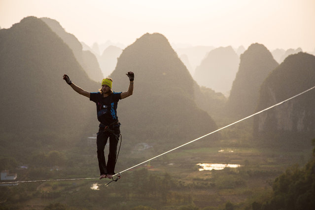 The sun begins to set as Alexander Schulz crosses the line, on November 25, 2014, Yangshuo, China. A daredevil has smashed the world record for longest distance walked on a highline - tiptoeing a massive 375m. The drawn-out line, which was anchored between two limestone boulders at 100m above the ground, beat the previous record by 70 metres. Alexander Schulz, 23, from Germany, spent three days trying to cross the line - falling scores of times - while battling ferocious wind and rain. (Photo by One Inch Dreams/Barcroft Media)