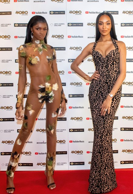 In this image released on December 09, Leomie Anderson and English model and actress Jourdan Dunn attend the 2020 MOBO Awards held at Exhibition London on December 07, 2020 in London, England. The MOBO Awards will be live-streamed on YouTube at 7pm and broadcast on BBC One at 10.45pm. (Photo by Michael Tubes/MOBO Organisation/Rex Features/Shutterstock)