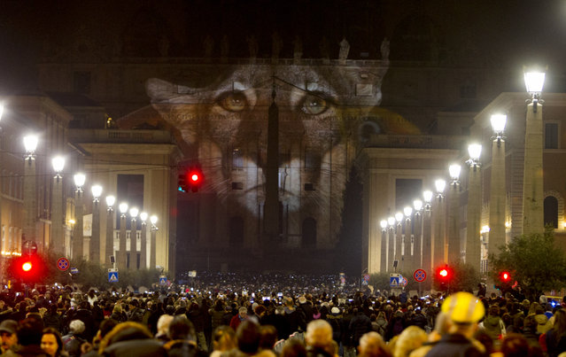 People gather to watch images projected on the facade of St. Peter's Basilica, at the Vatican, Tuesday, December 8, 2015. (Photo by Riccardo De Luca/AP Photo)